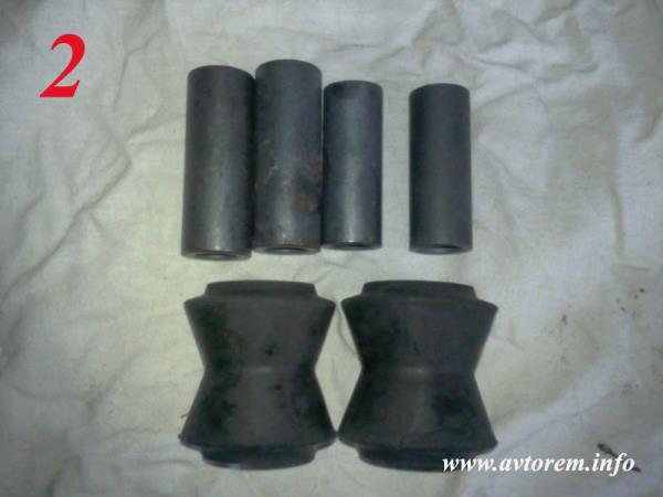 Резиновые и металлические втулки реактивных тяг автомобиля ВАЗ-2101, ВАЗ-21011, ВАЗ-2102, ВАЗ-2103, ВАЗ-2104, ВАЗ-2105, ВАЗ-2106, ВАЗ-2107, Жигули, Классика