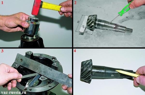 Запрессовка наружного кольца переднего подшипника и установка специальной ведущей шестерни благодаря которой можно узнать какой толщины регулировочное кольцо нужно будет устанавливать