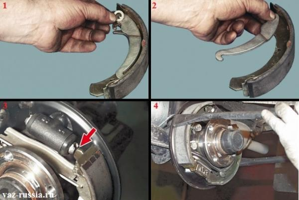 Снятие рычага привода стояночного тормоза и установка новых тормозных колодок на своё место