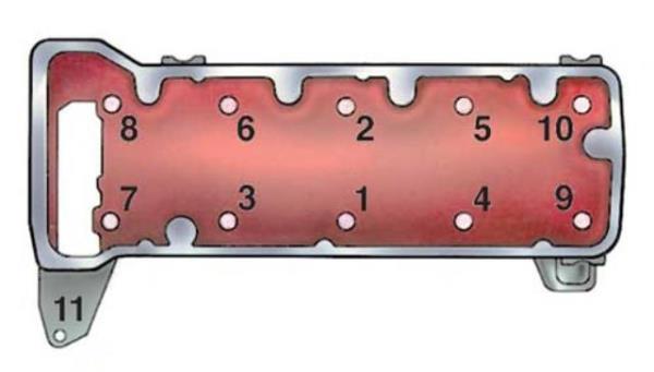 Схема затяжки болтов головки блока цилиндров 2106