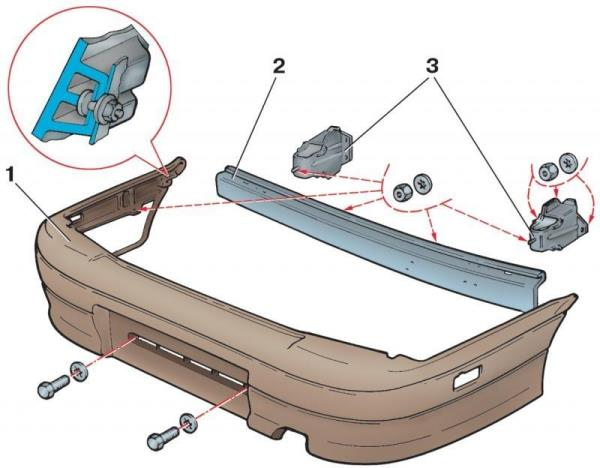 Схема снятия бампера