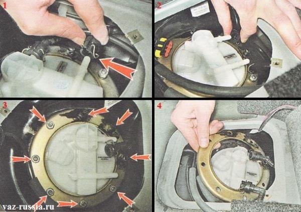 Снятие топливного насоса из бака на 16 клапанных авто