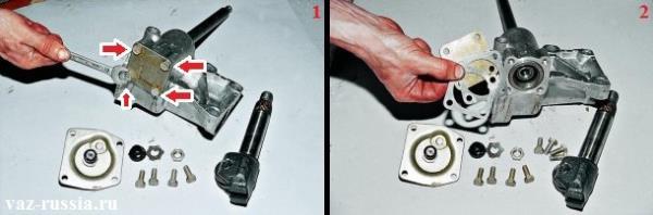 Выворачивание гаечным ключом четырёх болтов крепления крышки под которой находится червячный вал и прокладки