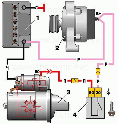 стартера схема реле инжектор ваз 21099