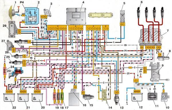 схема электропроводки ваз 21073