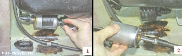 Отсоединение топливных трубок и снятие фильтра с машины