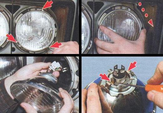 автомобиль ваз 2106 замена ламп внутренних и наружных фар
