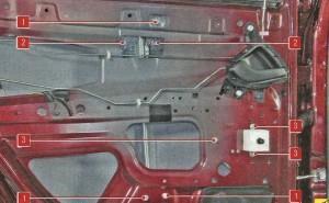 1. гайка крепления направляющей стекла; 2. болт держателя стекла; 3. гайка крепления механизма стеклоподъемника.