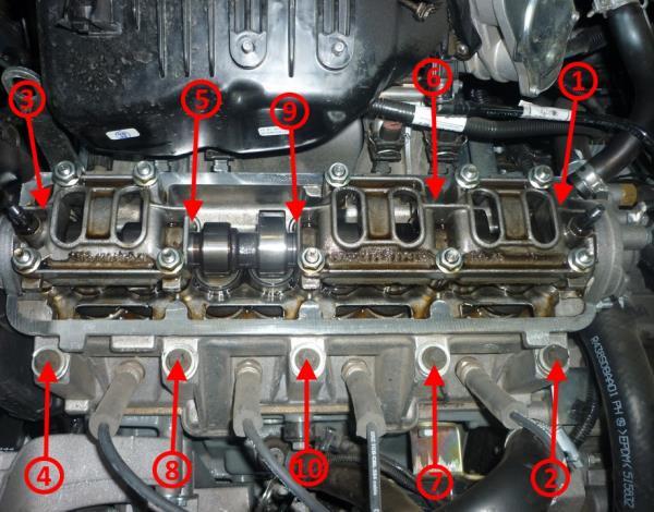 Последовательность затяжки болтов крепления головки блока цилиндров Лада Гранта (ВАЗ 2190)