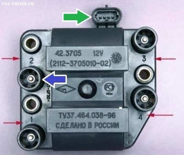 Модуль зажигания показан на фото а красными стрелками указаны номера цилиндров и они стоят напротив выводов на катушке, один из выводов для наглядности указан синей стрелкой