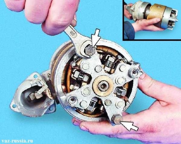 Отворачивание двух стяжных болтов и после чего разъединение между собой статора и крышки которая идёт совместно с якорем