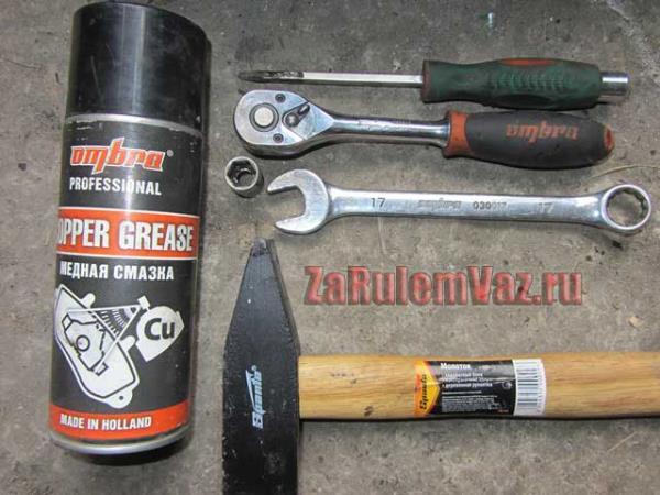 необходимый инструмент для замены передних тормозных колодок на Гранте