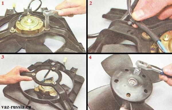 Разборка вентилятора и отсоединение крыльчатки от электродвигателя