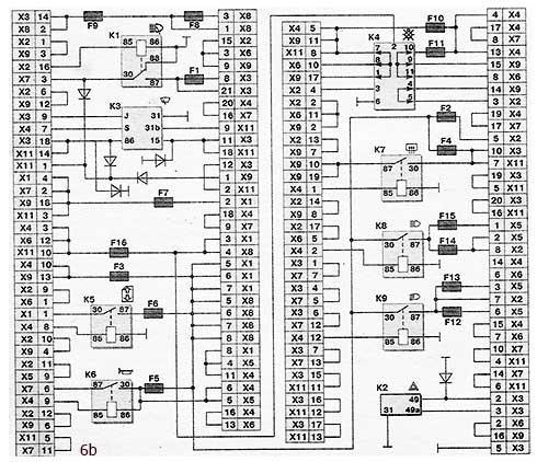 Схема соединений монтажного блока (наружная цифра в обозначении наконечника провода - номер колодки, а внутренняя цифра — условный номер штекера)