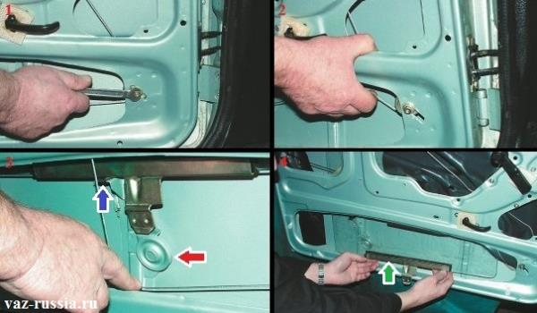 Ослабление троса последствием ослабления гайки крепления натяжного ролика и снятие троса с направляющего ролика и вынимание стекла через низ из двери автомобиля