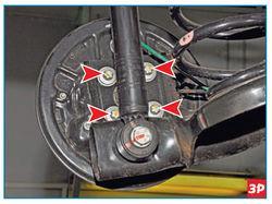 Цапфа заднего колеса крепится четырьмя винтами через щит тормозного механизма к фланцу балки задней подвески Lada Largus