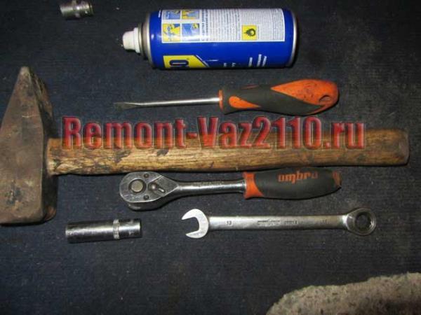 необходимый инструмент для замены резонатора на ВАЗ 2110-2112