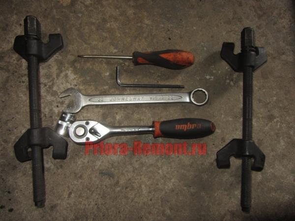 инструмент для замены передних пружин на Приоре