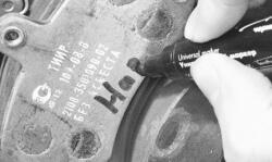 Промаркируйте тормозные колодки