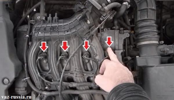 16 клапанный двигатель под маркировкой 124 и стрелками показаны катушка зажигания под которыми свечи и находятся
