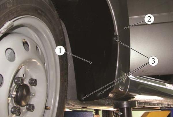 Снятие подкрылков передних колес Lada Granta