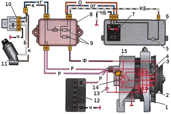 Электрическая схема подключения генератора ваз 2109