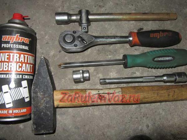 необходимый инструмент для замены задней оси ступицы на Приоре