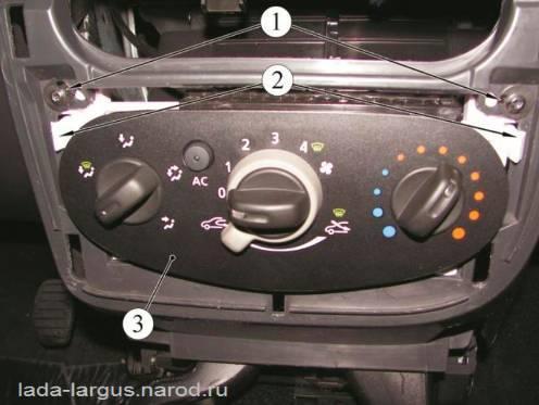 Крепление блока управления отоплением, кондиционированием и вентиляцией Lada Largus