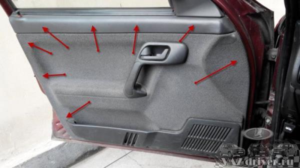 Расположение пистонов в передней двери ВАЗ-2110