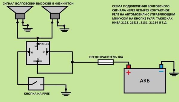 Схема подключения сигнала от Волги через 4-х контактное реле, на автомобили с управляющим минусом на кнопке руля