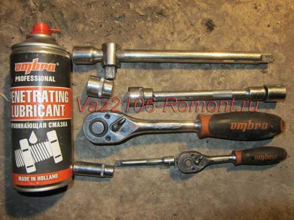 необходимый инструмент для замены задней полуоси на ВАЗ 2106