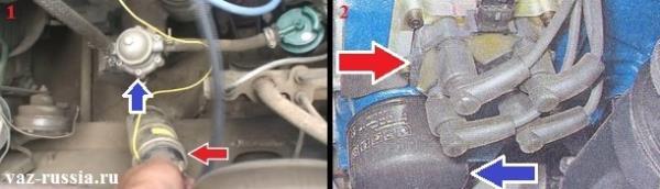 Расположение в автомобиле катушки и модуля зажигания