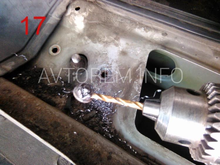 способ удаления гайек втулок механизма стеклоочистителя ланос