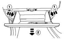 Демонтаж вещевого ящика: Вначале нажмите на боковые стенки 1 по указанным стрелками