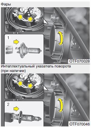 Фары /Габаритный фонарь /Интеллектуальный указатель поворота (при наличии)