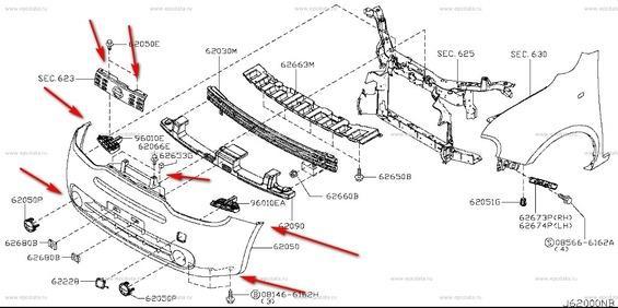 Схема крепления переднего бампера Nissan Cube Z12