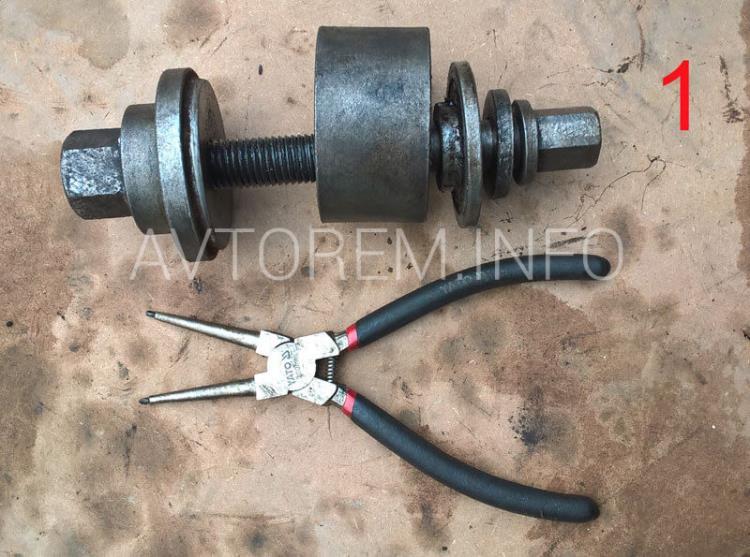 инструмент для замены подшипника передней ступицы ланос