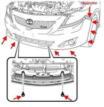 Бампер задний и передний на Тойота Королла 150: замена