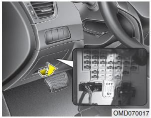 """1.Переведите ключ зажигания и все другие выключатели в положение """"Выключено""""."""