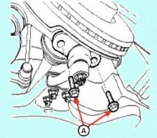 Снятие поворотного кулака и ступицы передней оси Киа Магнетис