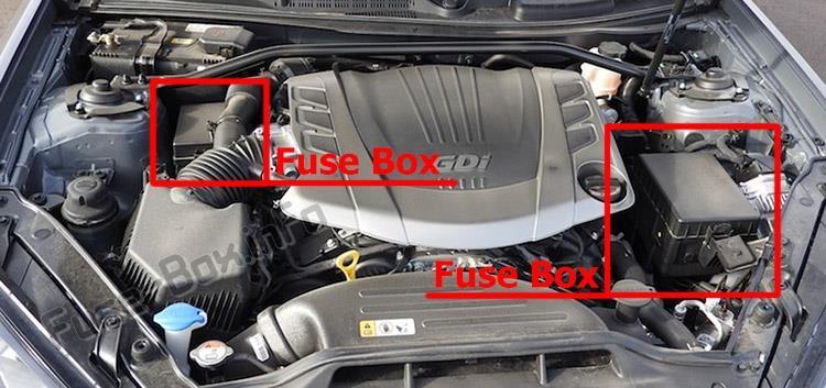 Расположение предохранителей в моторном отсеке: Hyundai Genesis Coupe (2009-2016)